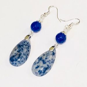 Blue Jadeite & Speckled Sodalite Teardrop Earrings